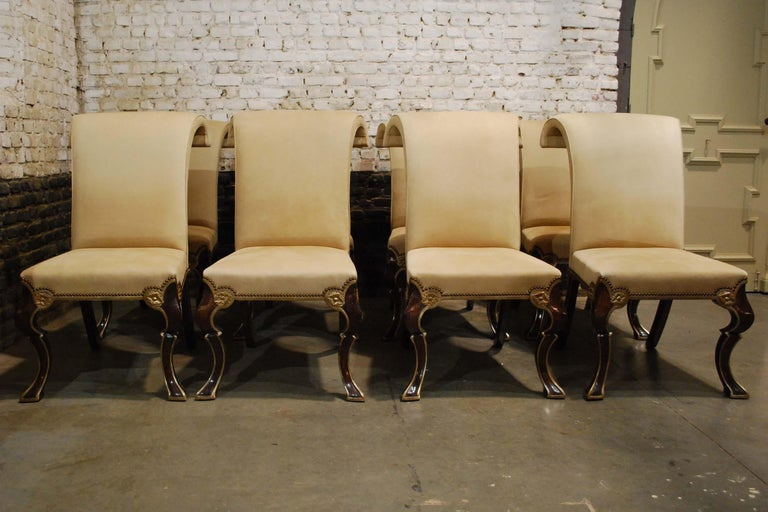 Georgian Eight-Piece Set Rose Tarlow Puccini Chairs Sand-Colored Alcantara Upholstery For Sale