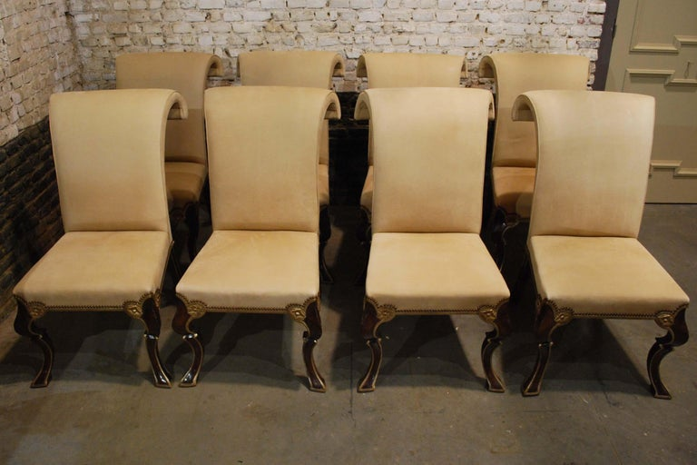 American Eight-Piece Set Rose Tarlow Puccini Chairs Sand-Colored Alcantara Upholstery For Sale