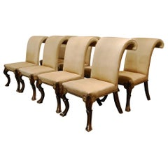 Eight-Piece Set Rose Tarlow Puccini Chairs Sand-Colored Alcantara Upholstery