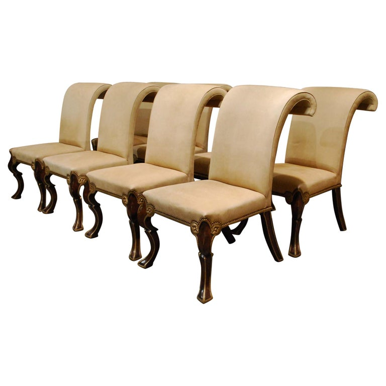 Eight-Piece Set Rose Tarlow Puccini Chairs Sand-Colored Alcantara Upholstery For Sale