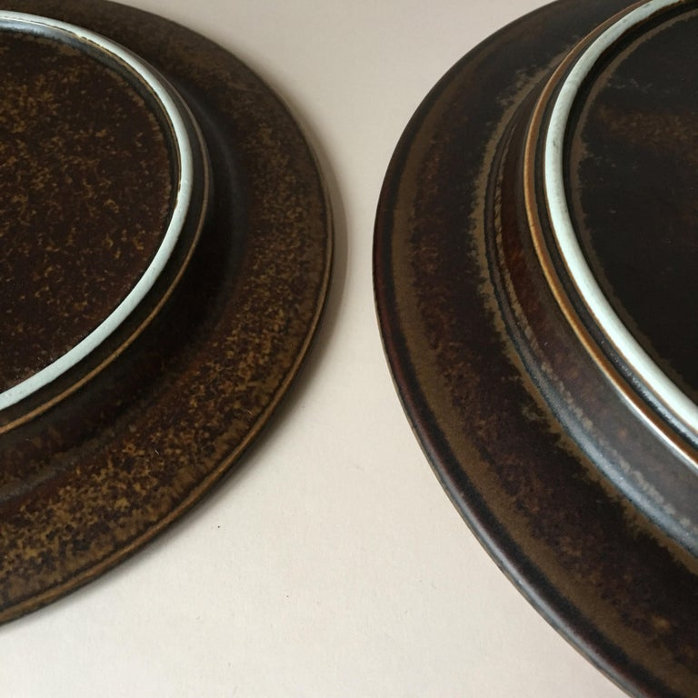 Eight Pieces of Midcentury Ruska Stoneware Dinner Plates from Arabia Finland For Sale 2