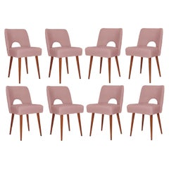 Eight Pink Boucle 'Shell' Chairs, 1960s