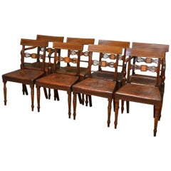 Eight Regency Antique Mahogany Dining Chairs