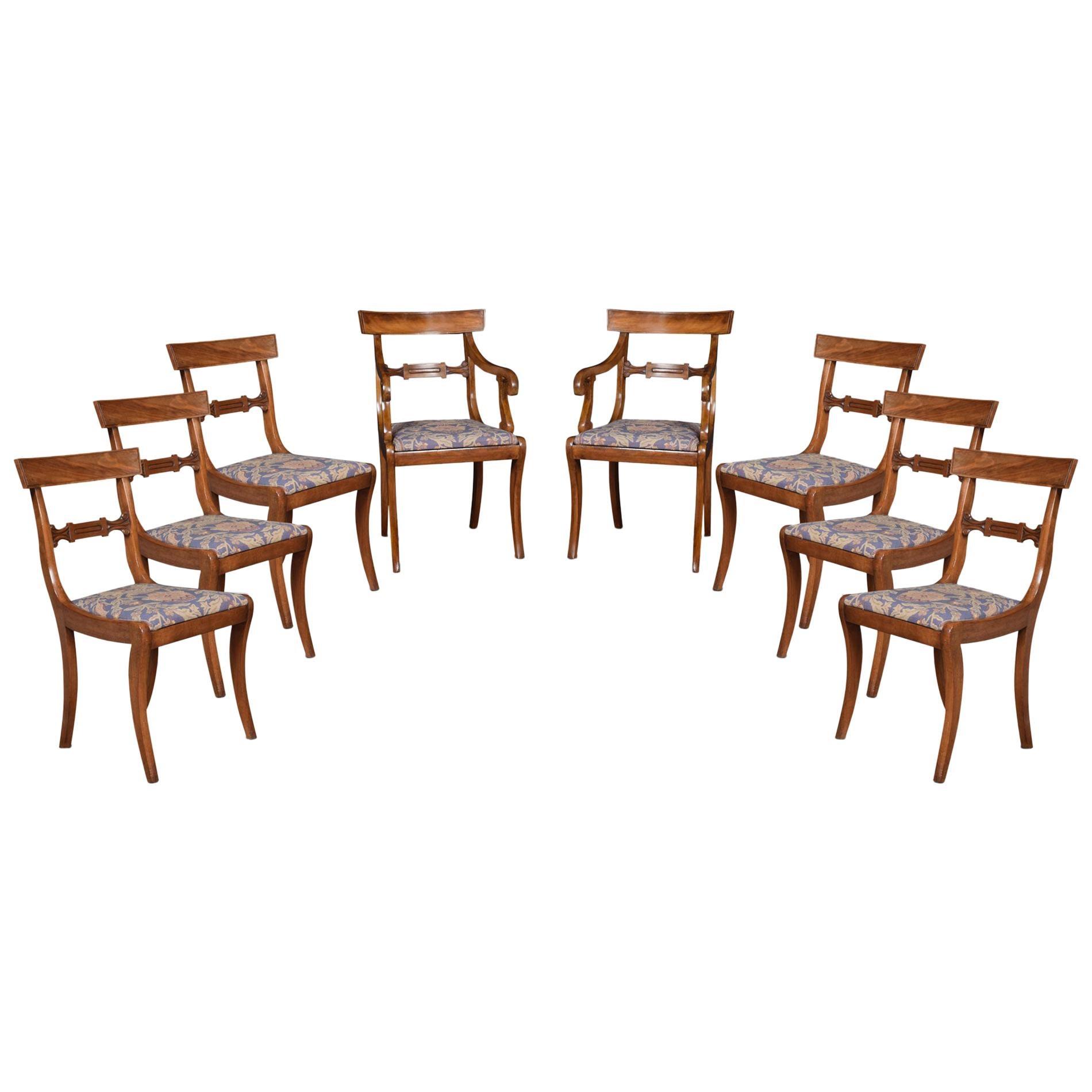 Eight Regency Mahogany Dining Chairs