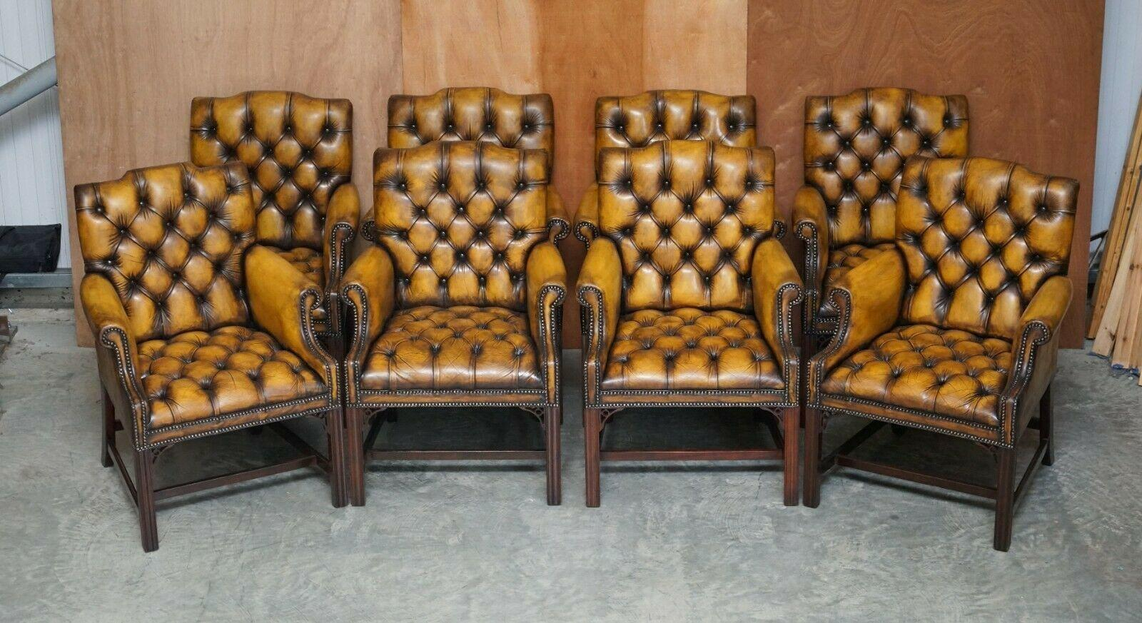 Eight Restored Brown Leather Thomas Chippendale Chesterfield Club Armchairs 8