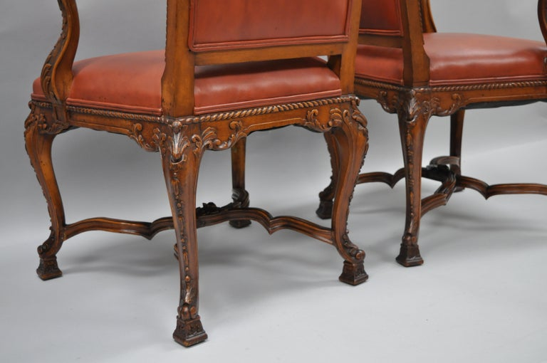 Eight Italian Renaissance Rococo Carved Walnut Needlepoint Leather Dining Chairs For Sale 4