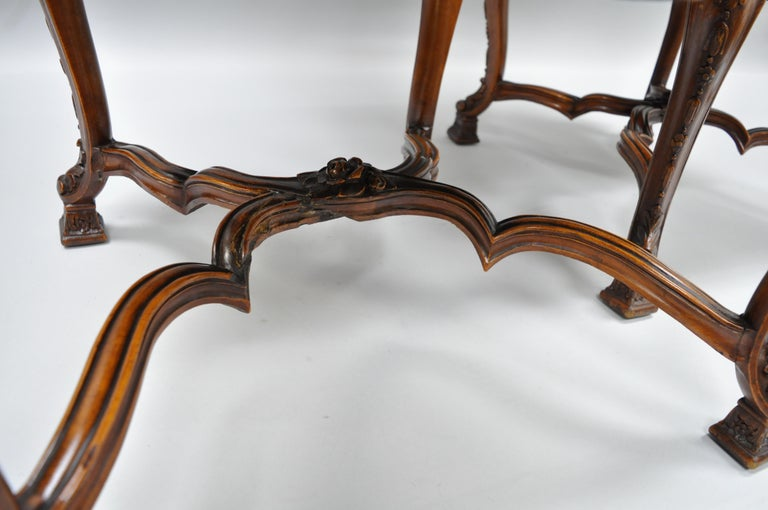Eight Italian Renaissance Rococo Carved Walnut Needlepoint Leather Dining Chairs For Sale 5