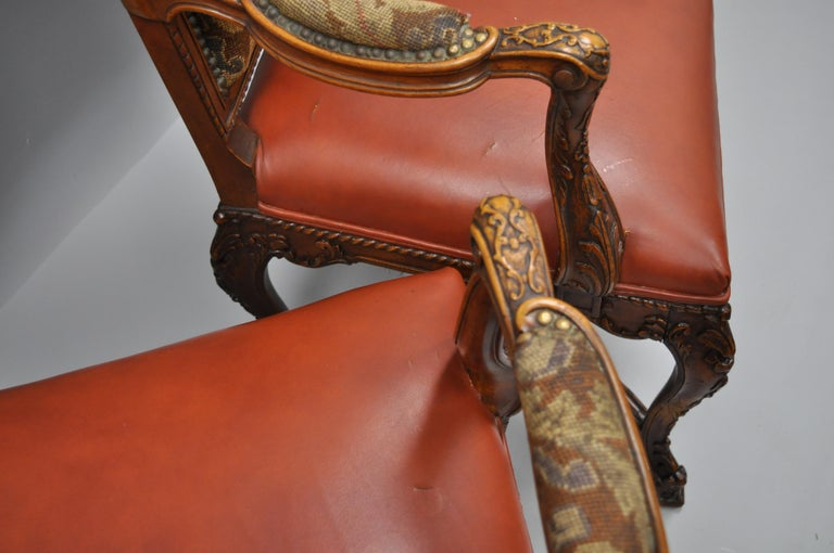 Eight Italian Renaissance Rococo Carved Walnut Needlepoint Leather Dining Chairs For Sale 6