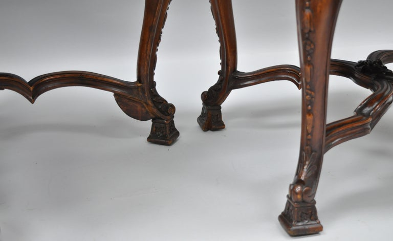 Eight Italian Renaissance Rococo Carved Walnut Needlepoint Leather Dining Chairs For Sale 7