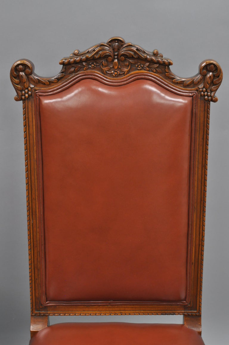 Eight Italian Renaissance Rococo Carved Walnut Needlepoint Leather Dining Chairs For Sale 8
