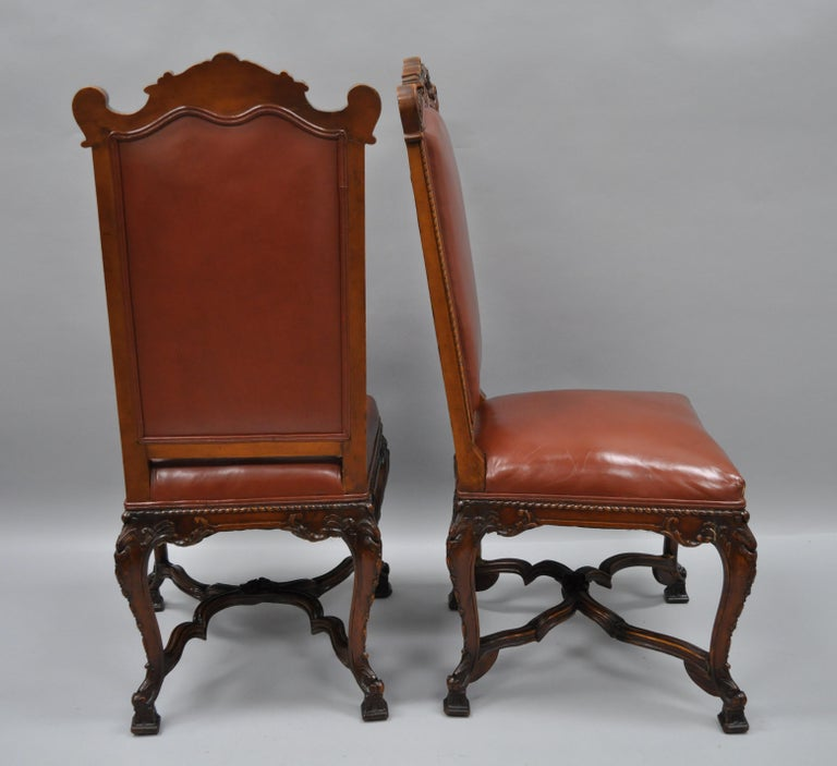 Eight Italian Renaissance Rococo Carved Walnut Needlepoint Leather Dining Chairs For Sale 9