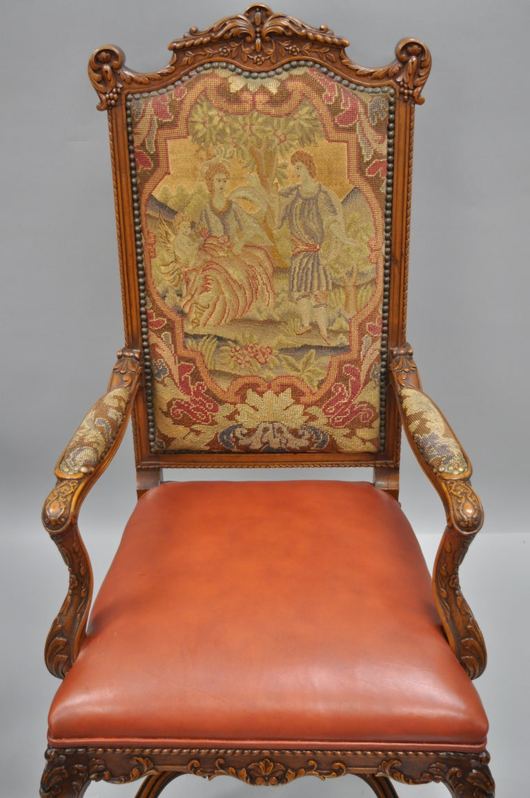 Eight Italian Renaissance Rococo Carved Walnut Needlepoint Leather Dining Chairs For Sale 10