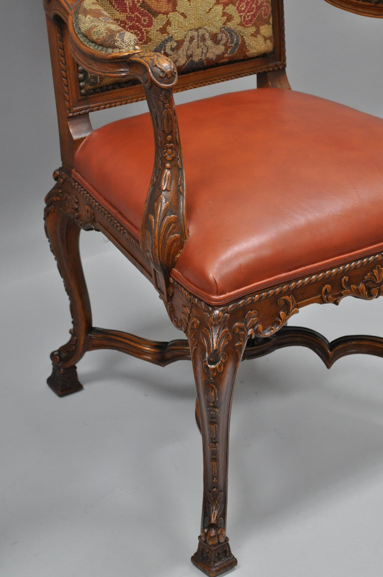 Eight Italian Renaissance Rococo Carved Walnut Needlepoint Leather Dining Chairs For Sale 11