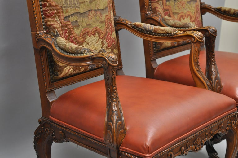 Eight Italian Renaissance Rococo Carved Walnut Needlepoint Leather Dining Chairs For Sale 12