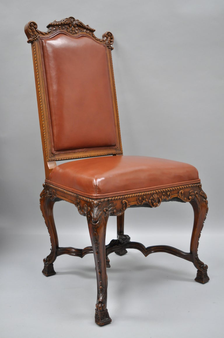 Eight Italian Renaissance Rococo Carved Walnut Needlepoint Leather Dining Chairs For Sale 13