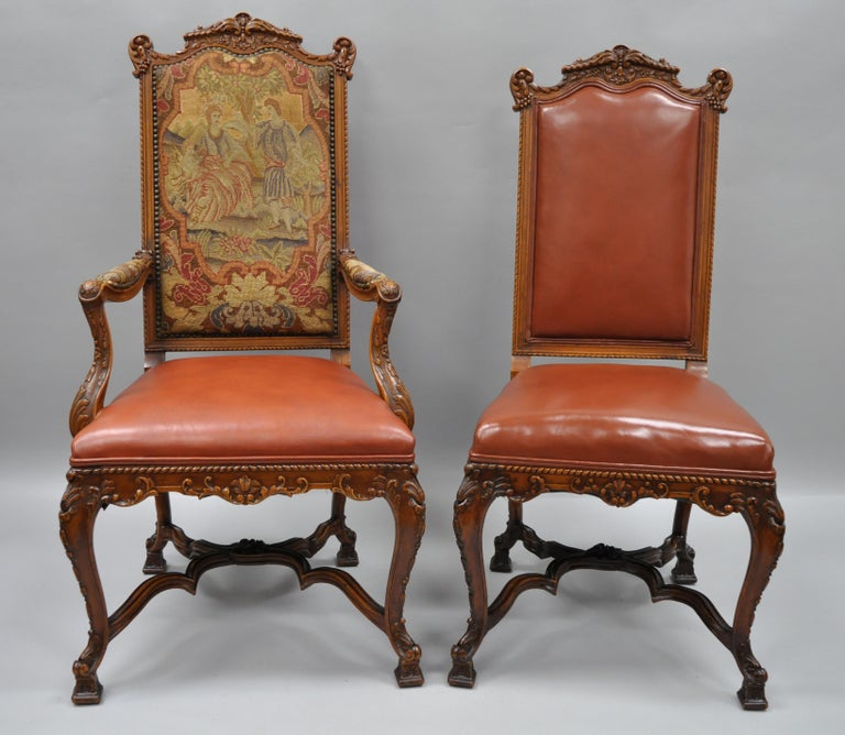 Louis XV Eight Italian Renaissance Rococo Carved Walnut Needlepoint Leather Dining Chairs For Sale