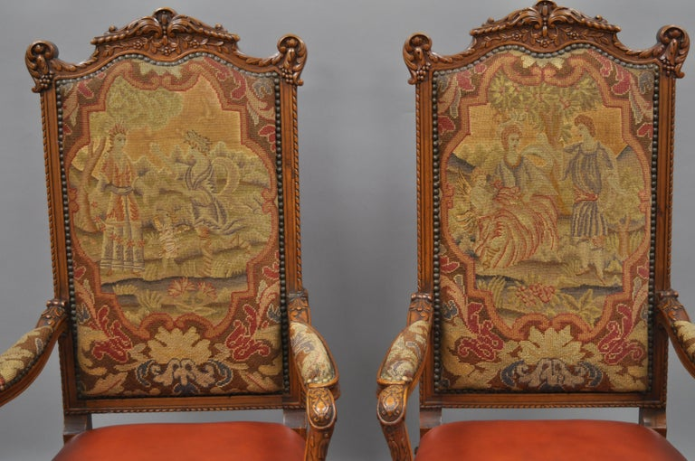 Unknown Eight Italian Renaissance Rococo Carved Walnut Needlepoint Leather Dining Chairs For Sale