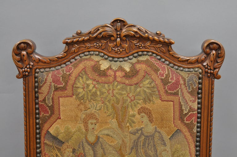 Eight Italian Renaissance Rococo Carved Walnut Needlepoint Leather Dining Chairs In Good Condition For Sale In Philadelphia, PA