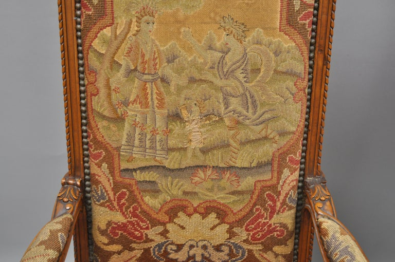 19th Century Eight Italian Renaissance Rococo Carved Walnut Needlepoint Leather Dining Chairs For Sale