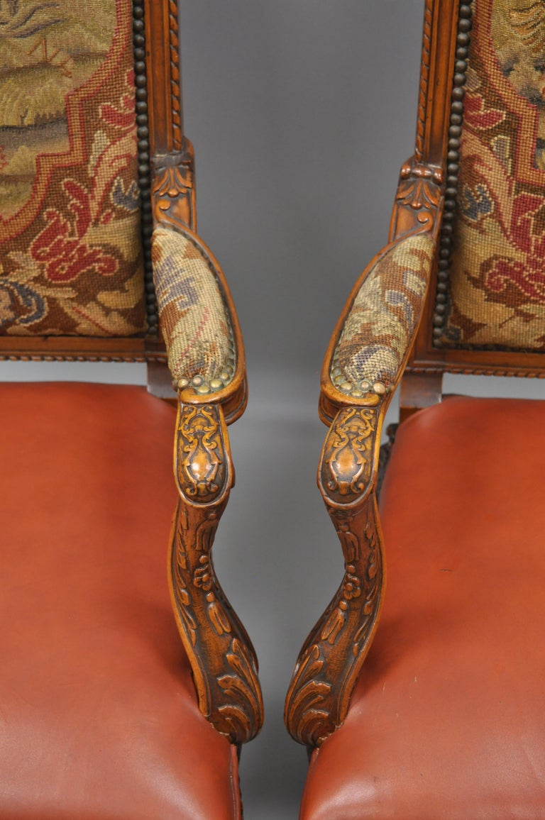 Fabric Eight Italian Renaissance Rococo Carved Walnut Needlepoint Leather Dining Chairs For Sale