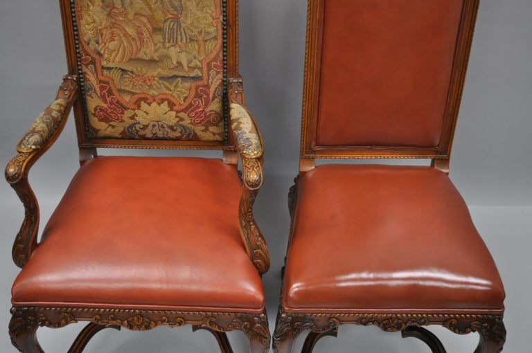 Eight Italian Renaissance Rococo Carved Walnut Needlepoint Leather Dining Chairs For Sale 1