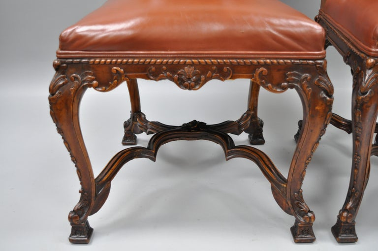 Eight Italian Renaissance Rococo Carved Walnut Needlepoint Leather Dining Chairs For Sale 2