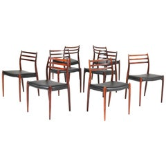 Eight Rosewood Model 78 Chairs by Niels O. Møller for J.L. Møllers, 1954