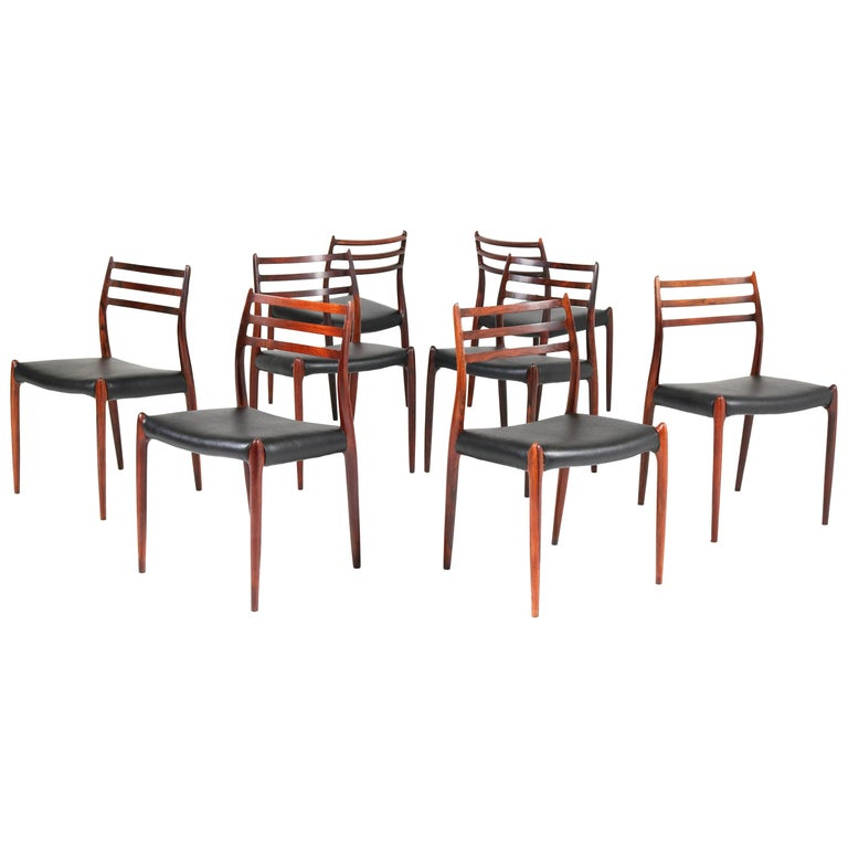 Eight Rosewood Model 78 Chairs by Niels O. Møller for J.L. Møllers, 1954 For Sale