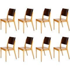 Eight Stacking Chairs by Karl Schwanzer, Thonet, Bicolored Wood, Austria, 1953