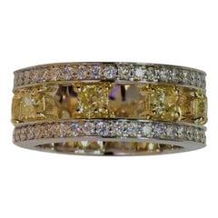 Eight Stone Yellow Radiant Cut Diamond Eternity Band 14 Karat White Gold