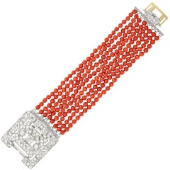 Eight-Strand Coral Bead Bracelet with Platinum, White Gold and Diamond Clasp