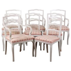 Eight Swedish Painted Ladder Back Chairs Four Side and Four Arm