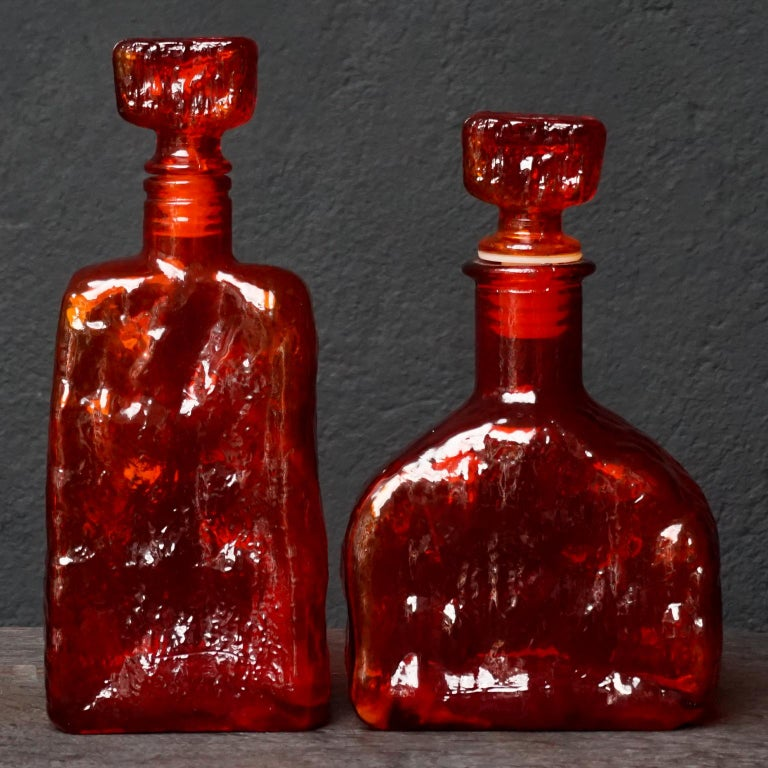 Eight Tangerine Amberina 60s Italian Empoli Rossini Glass Decanters Blenko Style For Sale 3