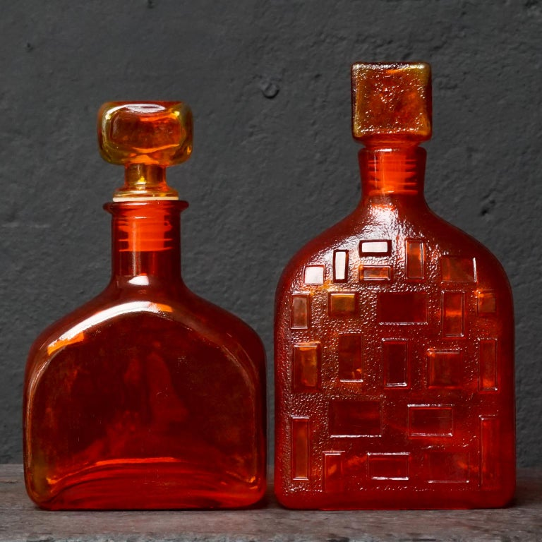 Eight Tangerine Amberina 60s Italian Empoli Rossini Glass Decanters Blenko Style For Sale 5