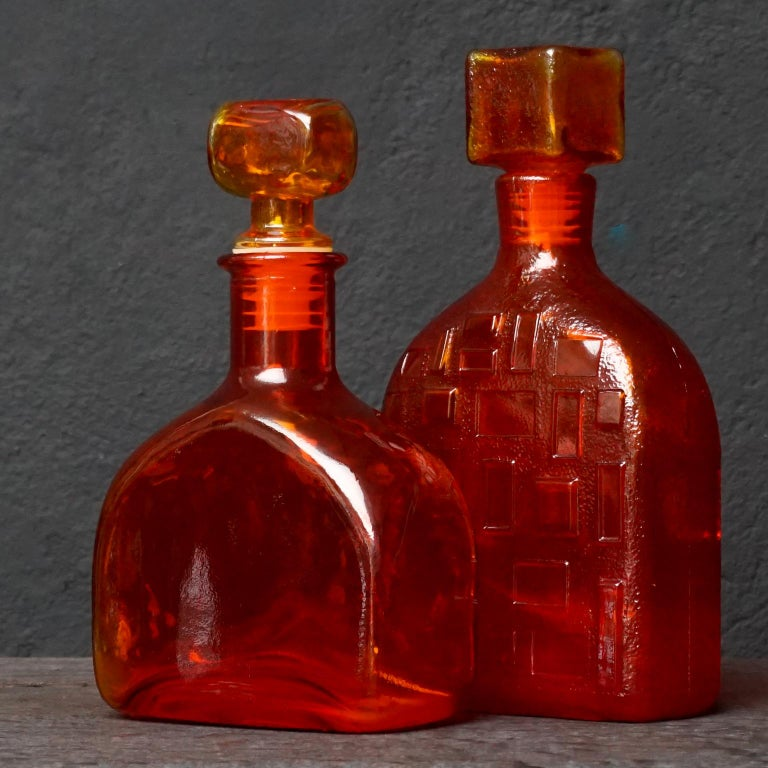 Eight Tangerine Amberina 60s Italian Empoli Rossini Glass Decanters Blenko Style For Sale 6