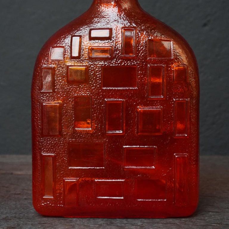 Eight Tangerine Amberina 60s Italian Empoli Rossini Glass Decanters Blenko Style For Sale 7