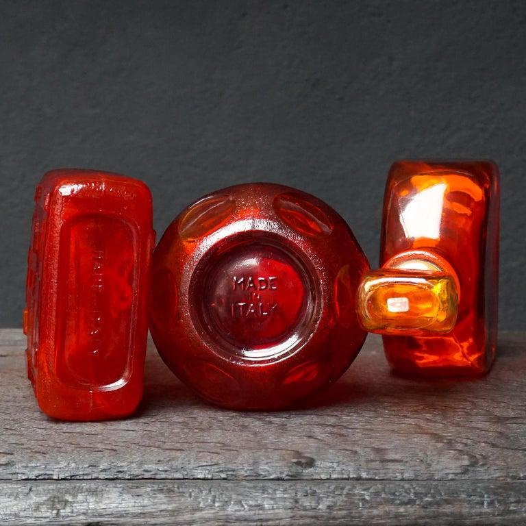 Eight Tangerine Amberina 60s Italian Empoli Rossini Glass Decanters Blenko Style For Sale 8