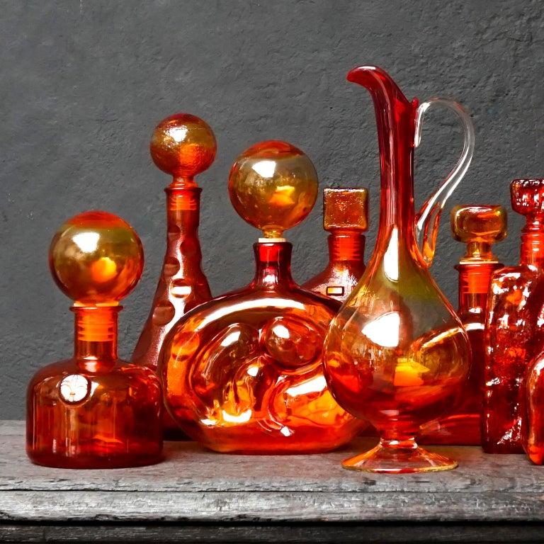 Pressed Eight Tangerine Amberina 60s Italian Empoli Rossini Glass Decanters Blenko Style For Sale