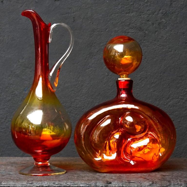 Mid-20th Century Eight Tangerine Amberina 60s Italian Empoli Rossini Glass Decanters Blenko Style For Sale