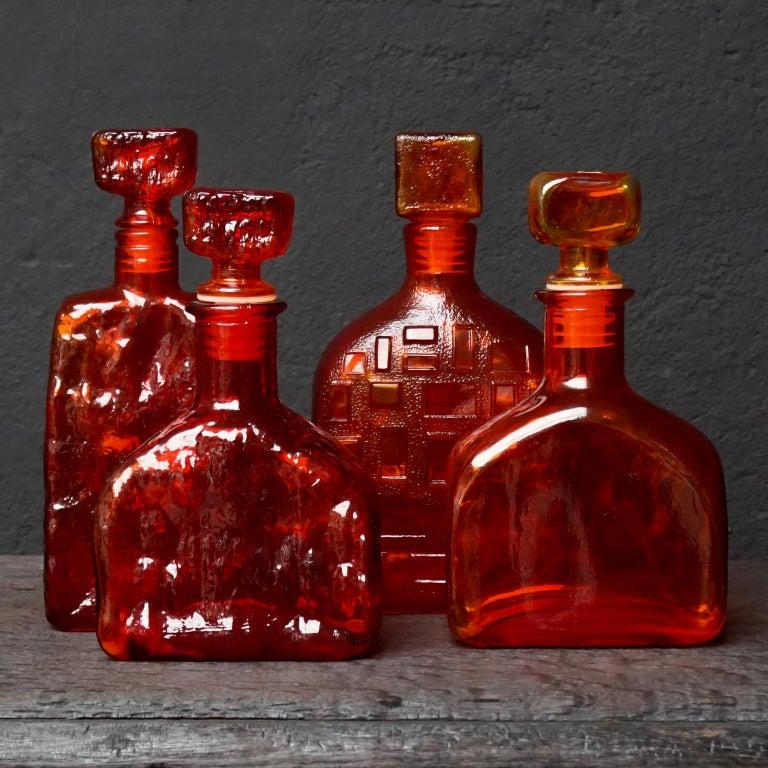 Eight Tangerine Amberina 60s Italian Empoli Rossini Glass Decanters Blenko Style For Sale 2