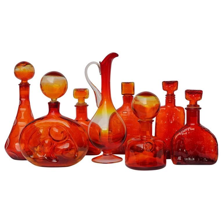 Eight Tangerine Amberina 60s Italian Empoli Rossini Glass Decanters Blenko Style For Sale