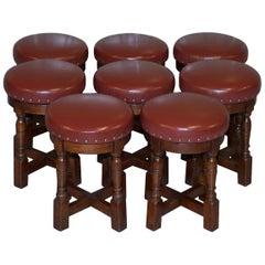 Eight Taylors Pub Furniture Sheldon Leather Oak Swivel Low Bar Stools Suite 8
