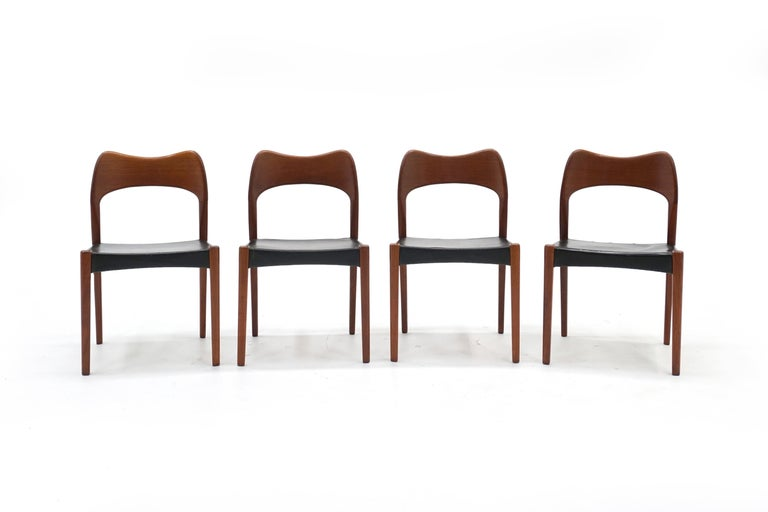 Scandinavian Modern Eight Teak with Black Leather Dining Chairs by Niels Otto Møller For Sale