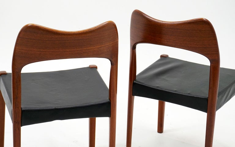 Eight Teak with Black Leather Dining Chairs by Niels Otto Møller In Good Condition For Sale In Kansas City, MO