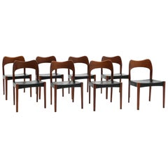 Eight Teak with Black Leather Dining Chairs by Niels Otto Møller