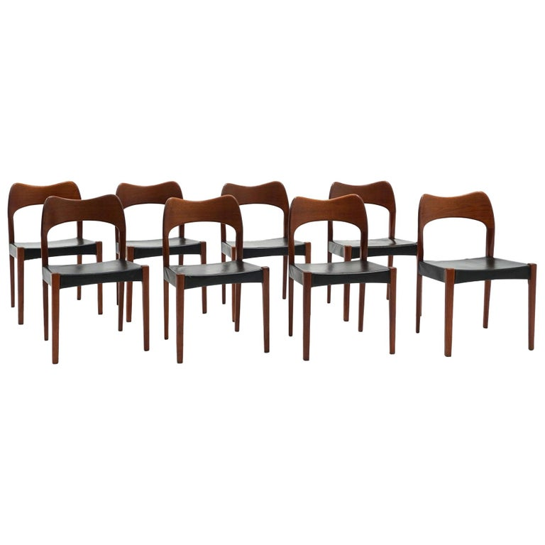Eight Teak with Black Leather Dining Chairs by Niels Otto Møller For Sale