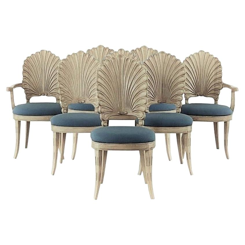 Eight Venetian Grotto Style Scalloped Shell Back Dining Chairs