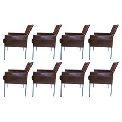 Eight Vintage Brown Leather 'Texas' Dining Chairs by Karl Friedrich Föster
