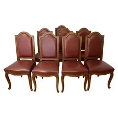 Eight Vintage Carved & Leather Upholstered High Back Dining Chairs