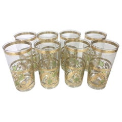 Eight Vintage Highball Glasses by Culver with Green Leaves and 22k Gold Vines